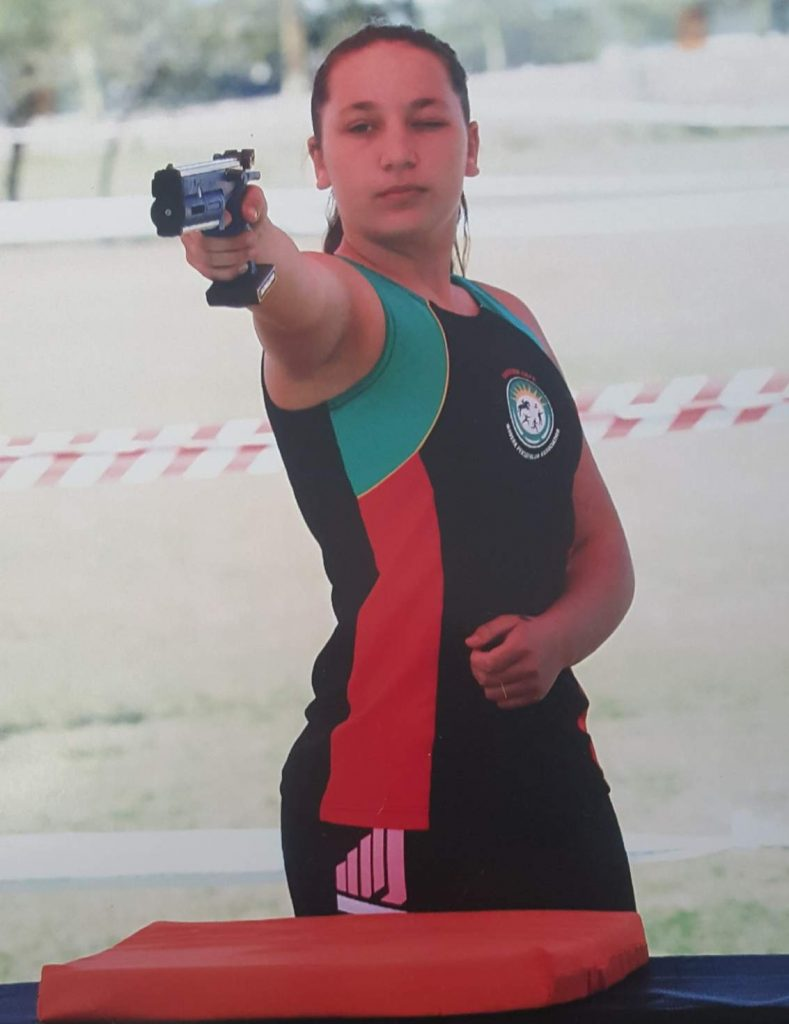 SHARP SHOOTER: Beaconhurst High's Tiffany Scott takes aim at a target during the laser run event at the South African Championships in Bela-Bela, Limpopo, late last month. She achieved silver in laser run, bronze in triathle and seventh place in biathle – as well as selection for the world championships in all three disciplines later this year
