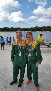 STERLING PERFORMANCE: Daniel Breetzke, left, and Nathan Gallacher show off their medals which they won in the individual events at the  Biathle  World Championships