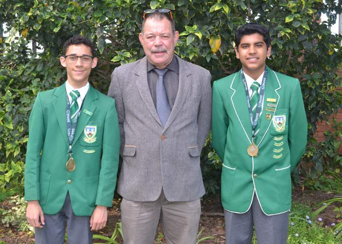 WELL SPOKEN: Haydon Anderson, 14, has been selected for the SA  Model  United Nations Debating Team who will travel to an international debating conference in USA. From left are Anderson, Darrell Marshall (head of oratory at Stirling High) and Nishaan Vasi, who also represented the province at the nationals in Cape Town Picture: SUPPLIED