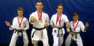 Members from the Shotokan Circle of Karate – East London dojo – won medals at the All-Shotokan karate championships held in Grahamstown last month. The medal winners are, from left, Ethan Chipps (bronze for kata), Sean O'Connell (gold for kata and gold for kumite), Jaco van der Merwe (gold for kata and gold for kumite) and Morné van der Merwe (silver for kata)