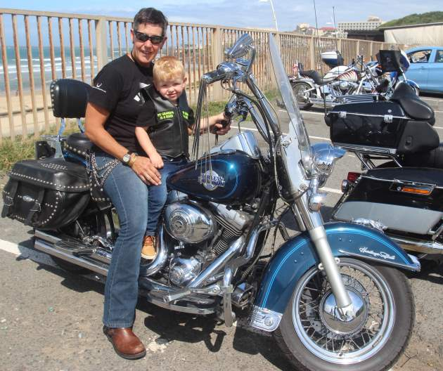 Rene Eyman from Steel Wings East London and young Carson, 2, had some good fun at Buccaneers Sports Pub and Grill during the recent Black Rock Rally Picture: ETHIENNE ARENDS