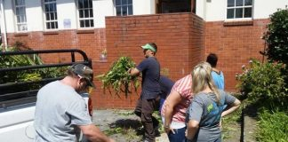 HELPING HANDS: Some of College Street Primary School's parents and staff hard at work cleaning up the gardens in and around the school last month. The pupils also helped clean and neaten the pavements and beautify the gardens. The school extends a huge thank you to all involved
