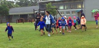 COME RAIN OR SHINE: Laerskool Nahoon recently held a fun walk for their Grade R class. Hanri Niit and her class head out for the event with the rain not putting a damper on the little ones' excitement
