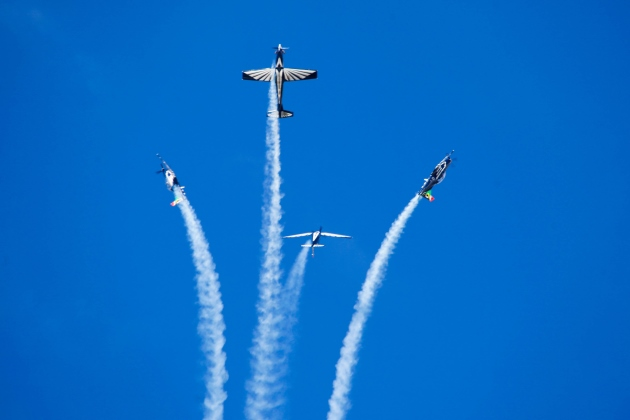SILVER STARS: The aerial acrobatics by the SA Air Force's Silver Falcons were the highlight of the third annual Airfest held at Wings Park Airfield over the weekend Picture: TENITA BIRKHOLTZ